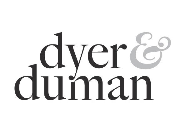 Dyer and Duman wordmark, black on white, custom ampersand